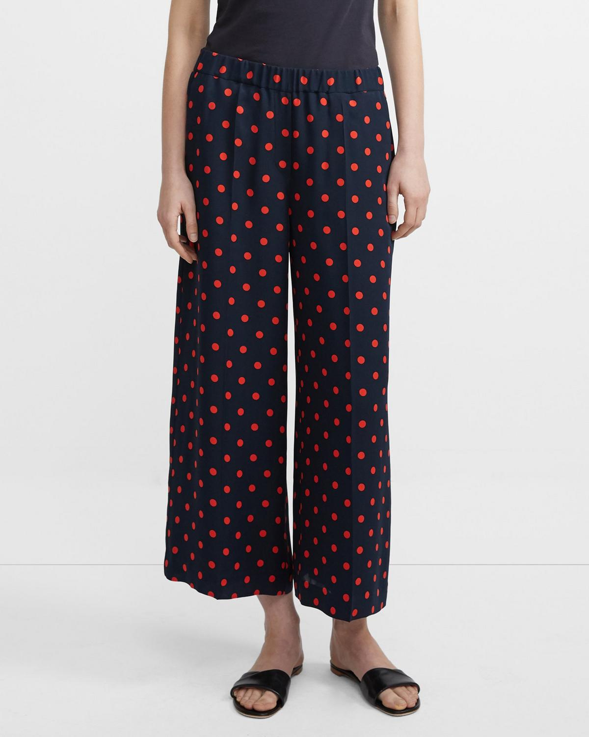 Wide Leg Pant in Neon Polka Dot Silk