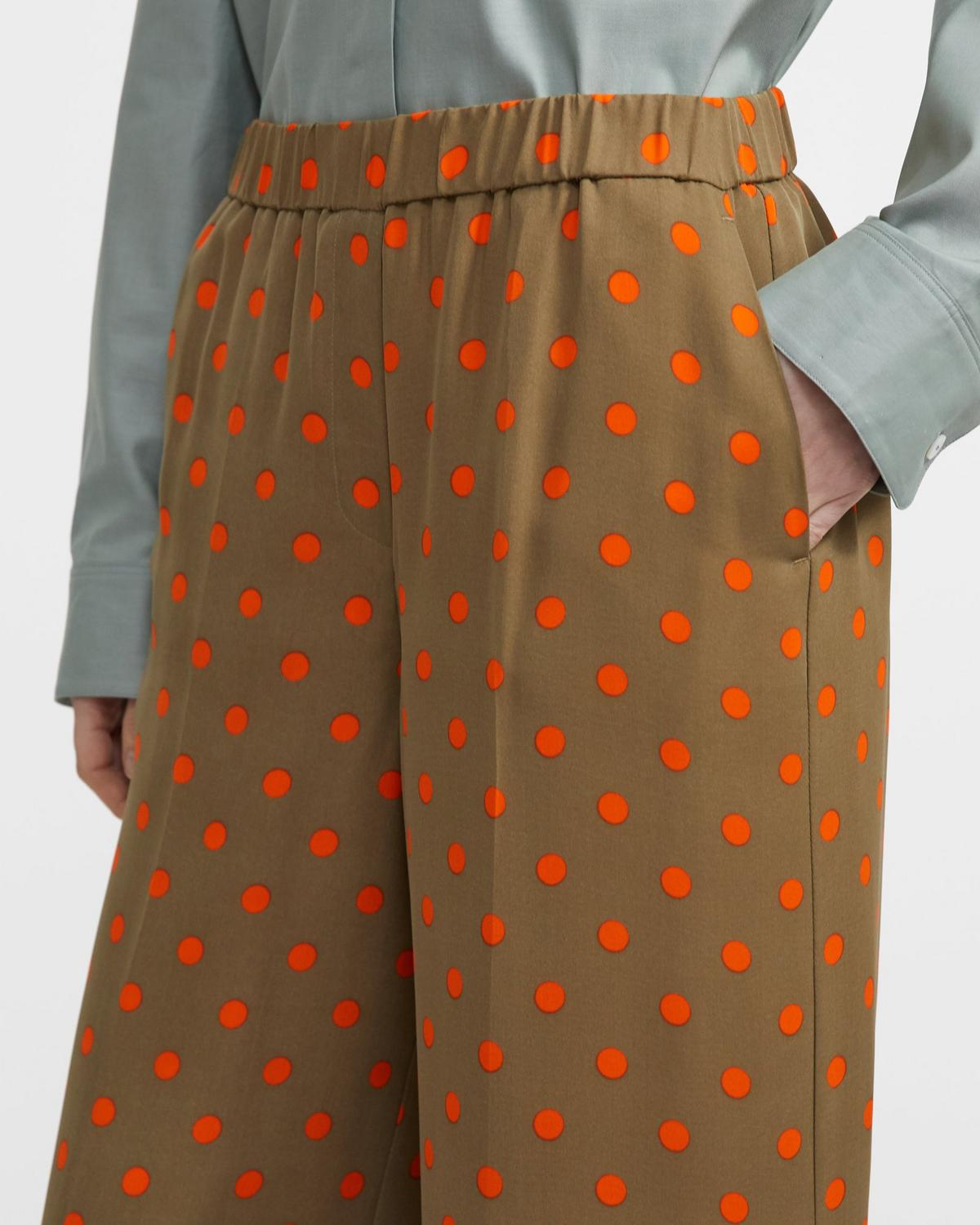 Neon Polka Dot Wide-Leg Trouser