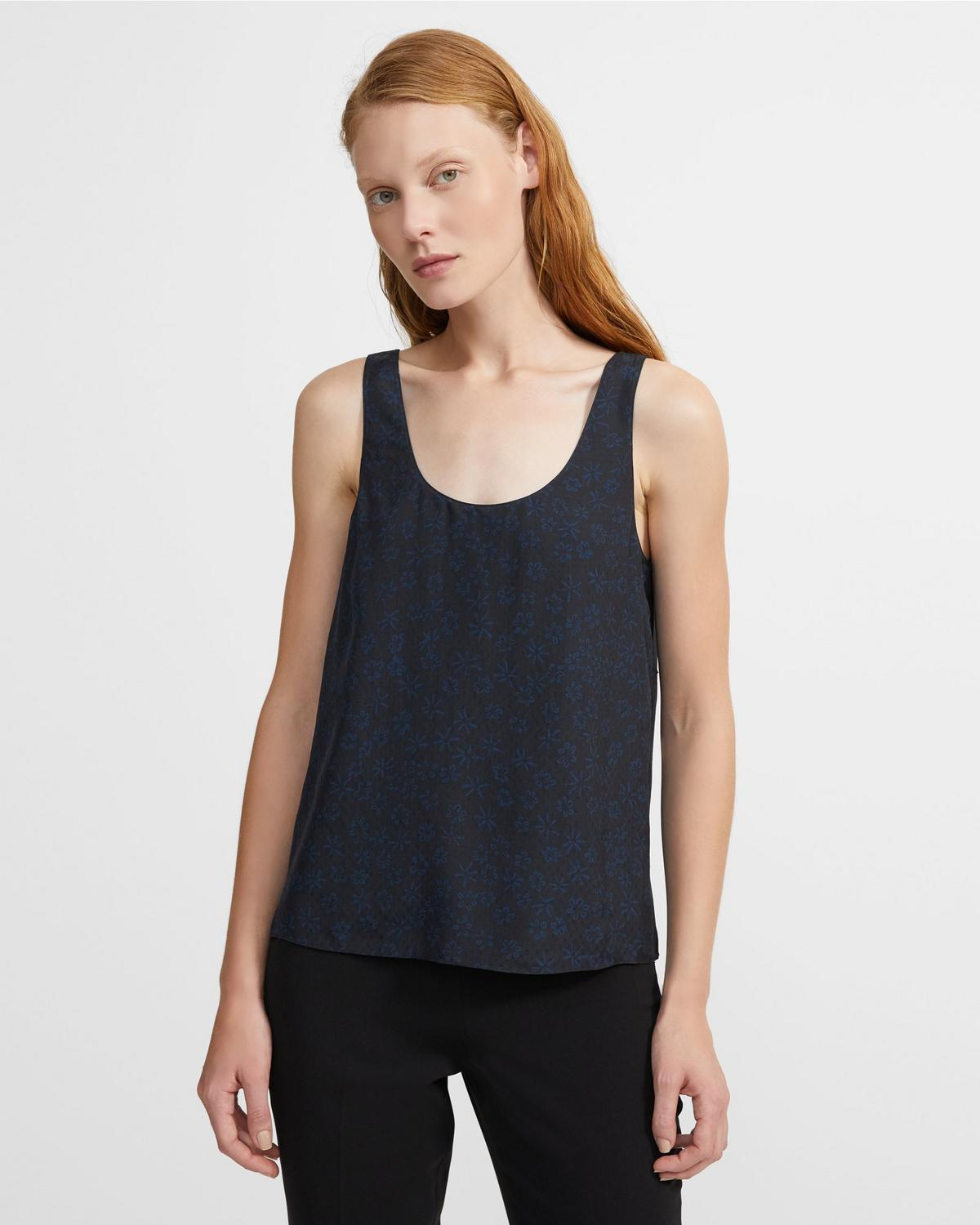 Flower-Print Scoop Tank