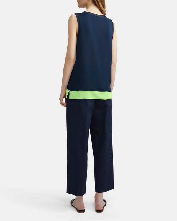 띠어리 네온 민소매 티셔츠 Theory Neon Sleeveless Tee,NAVY/NEON YELLOW