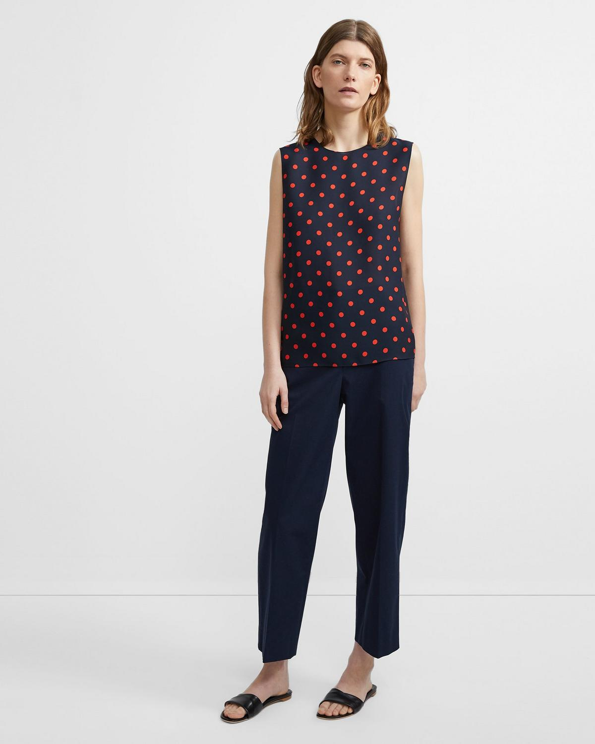 Shell Top in Neon Polka Dot Silk