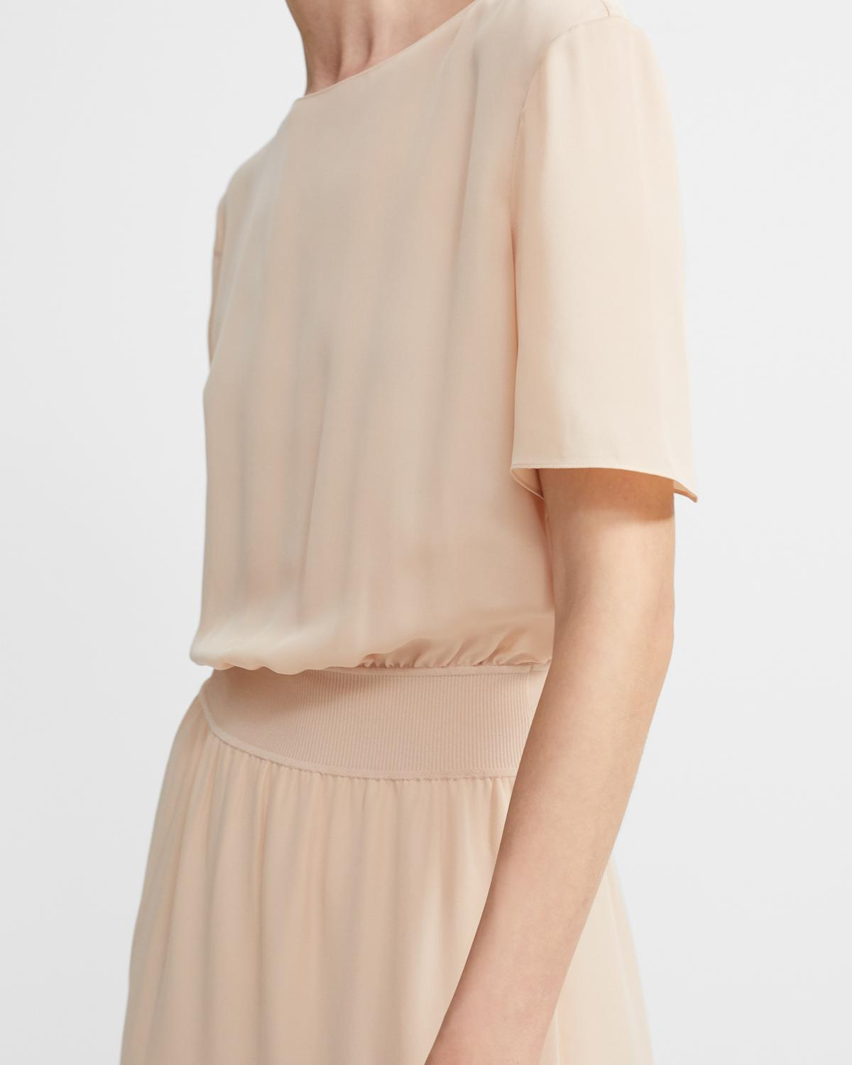 Ribbed Waist Dress in Silk Combo