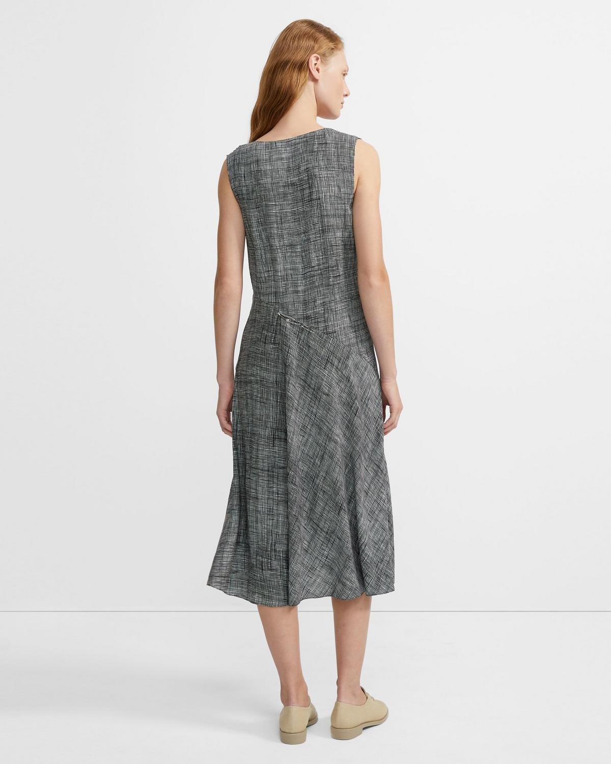 Crosshatch Silk V-Neck Draped Dress