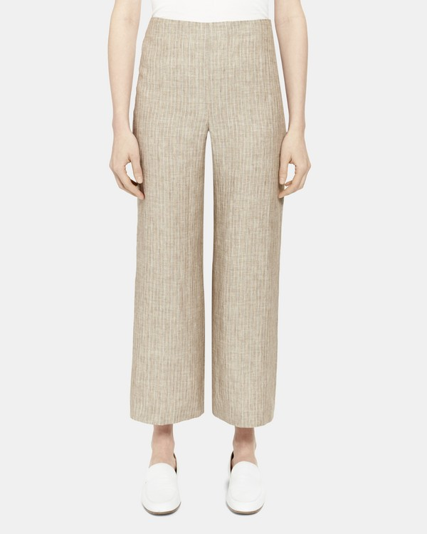 Clean Cropped Pant in Striped Linen