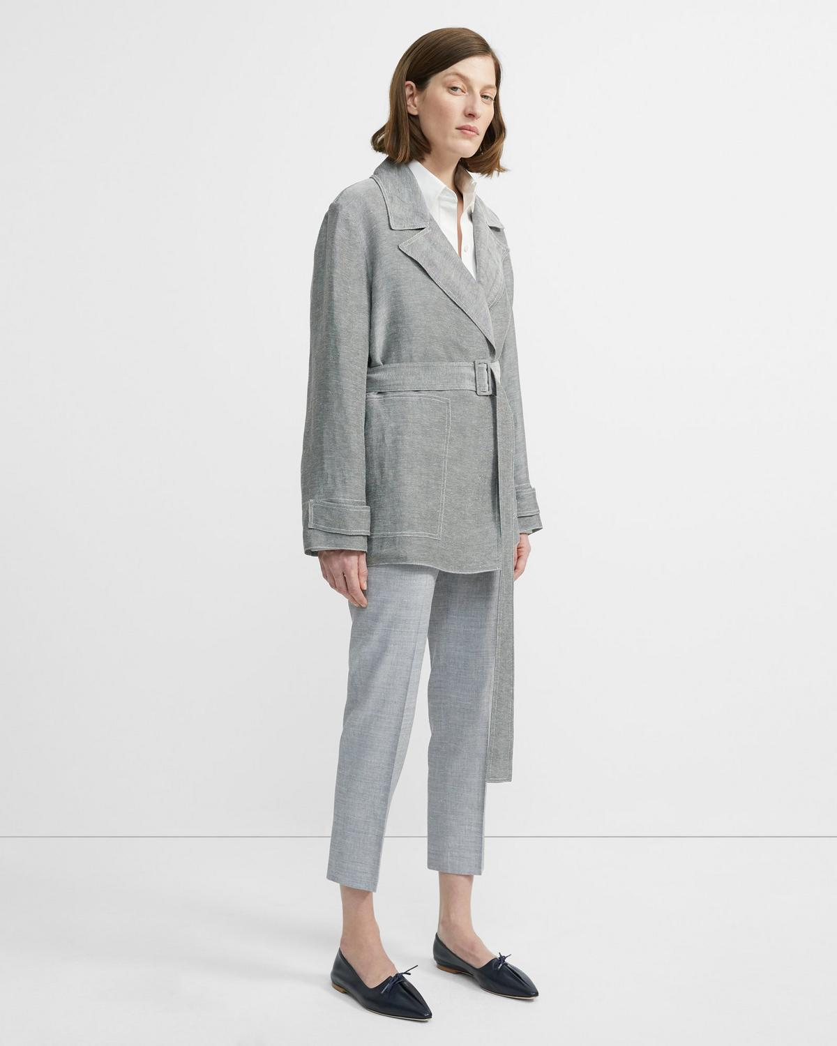 Linen Twill Short Trench 0 - click to view larger image