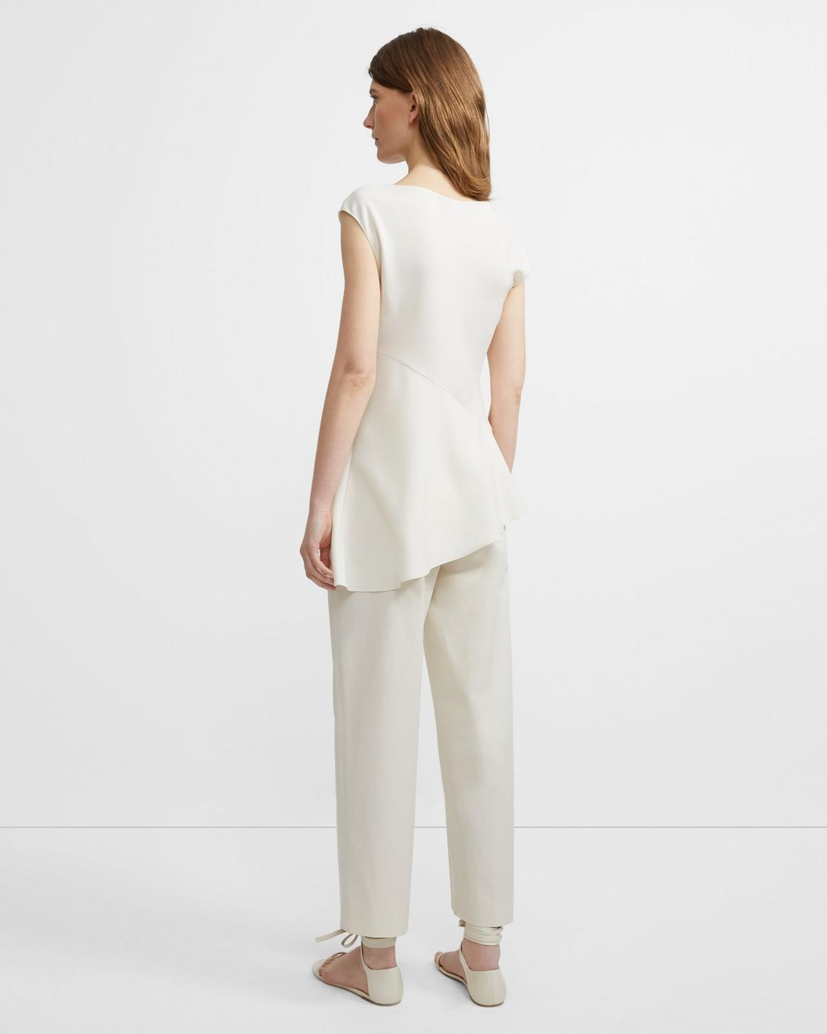 Classic Crepe Open-Neck Draped Top