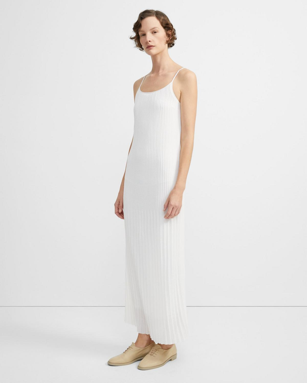 Pleated Dress in Stretch Cotton