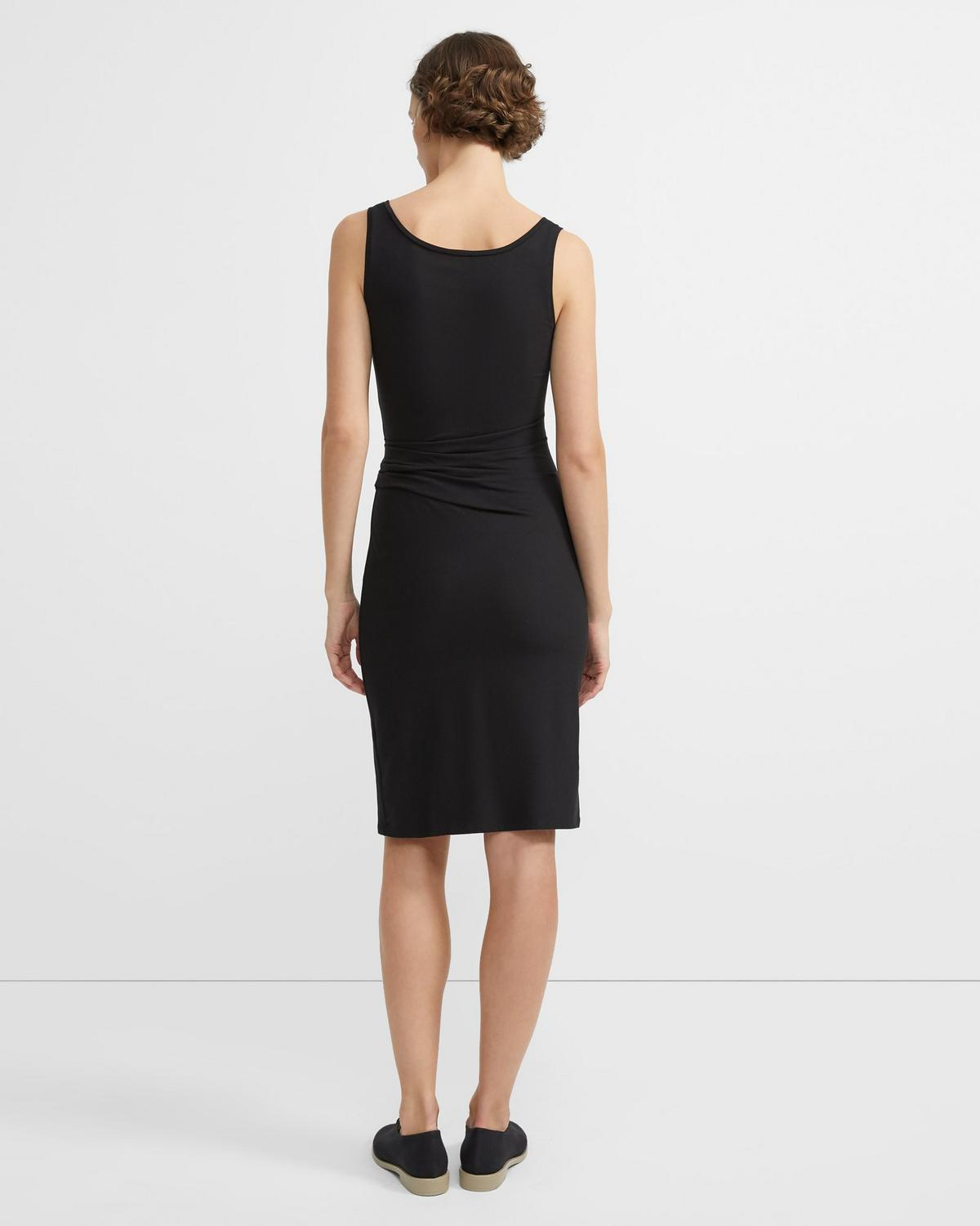 Gathered Round Neck Dress in Cotton-Modal