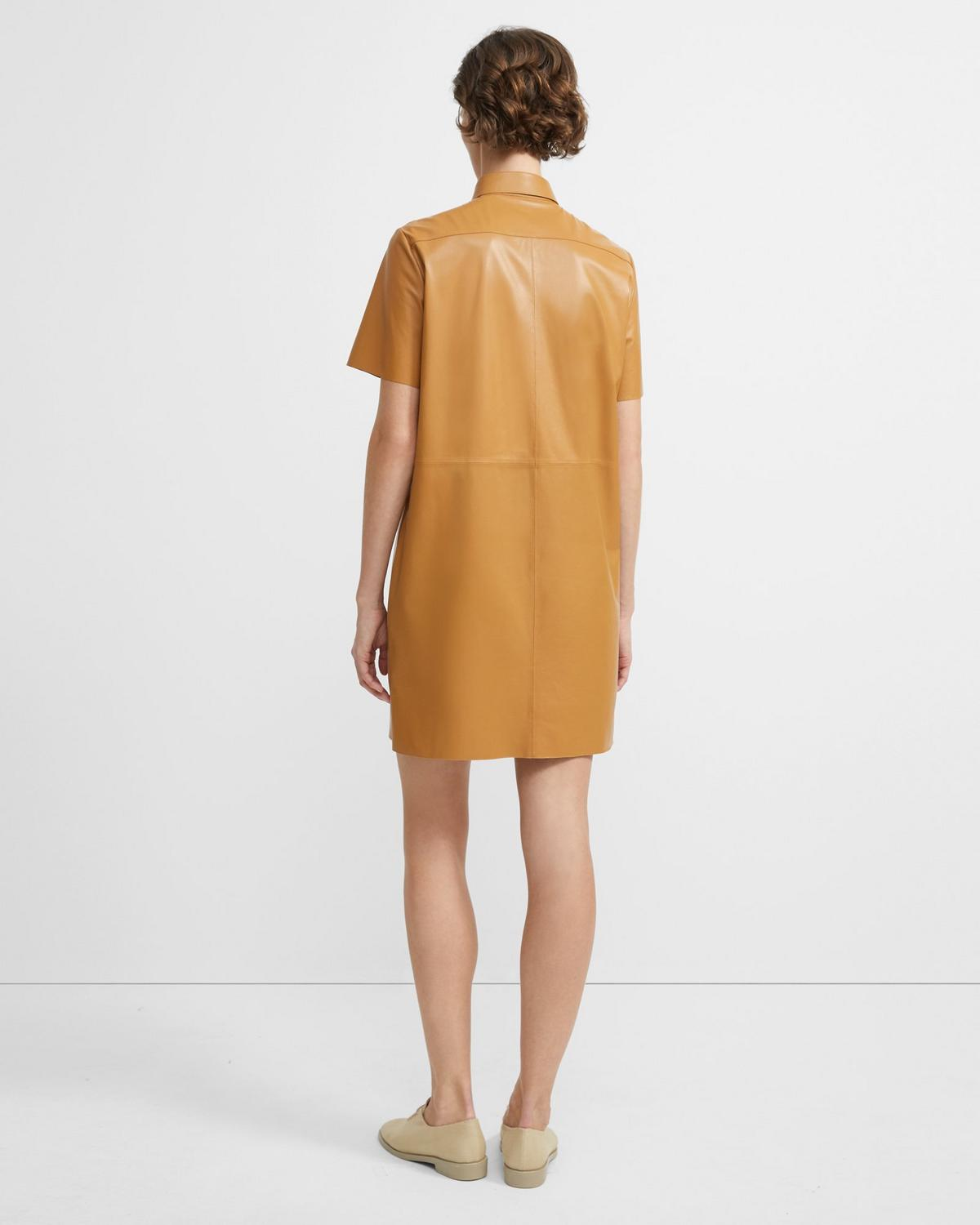 Nappa Leather Shirt Dress