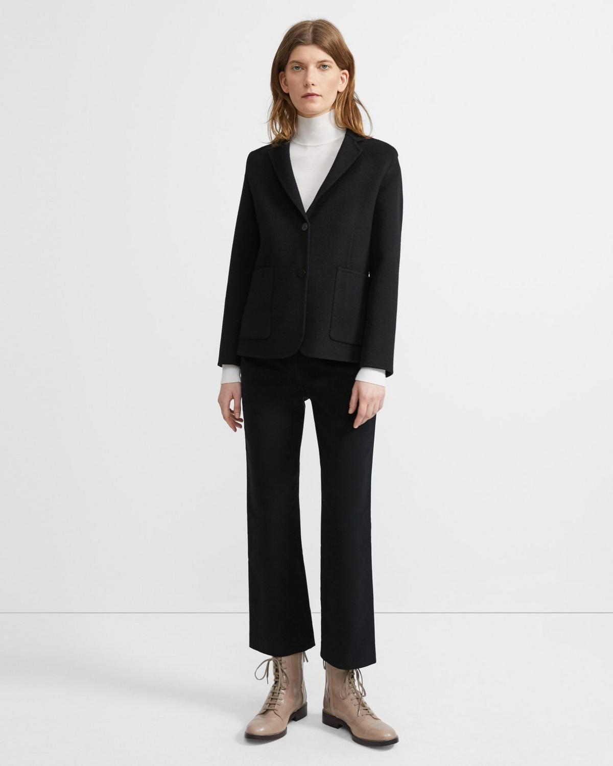 Shrunken Blazer in Double-Face Wool-Cashmere