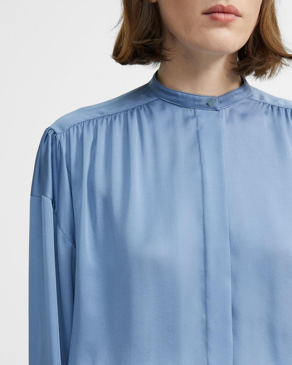 Light Charmeuse Shirred Yoke Shirt