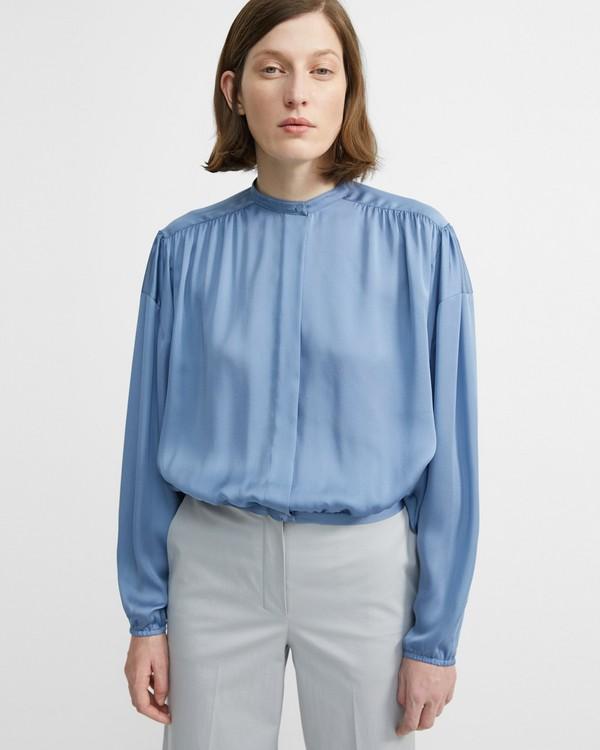 077f8f292acb Light Charmeuse Shirred Yoke Shirt