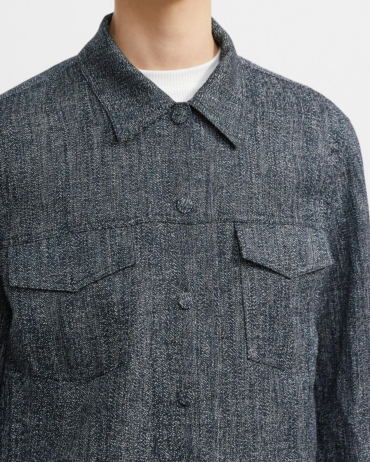 Trucker Jacket in Herringbone Melange
