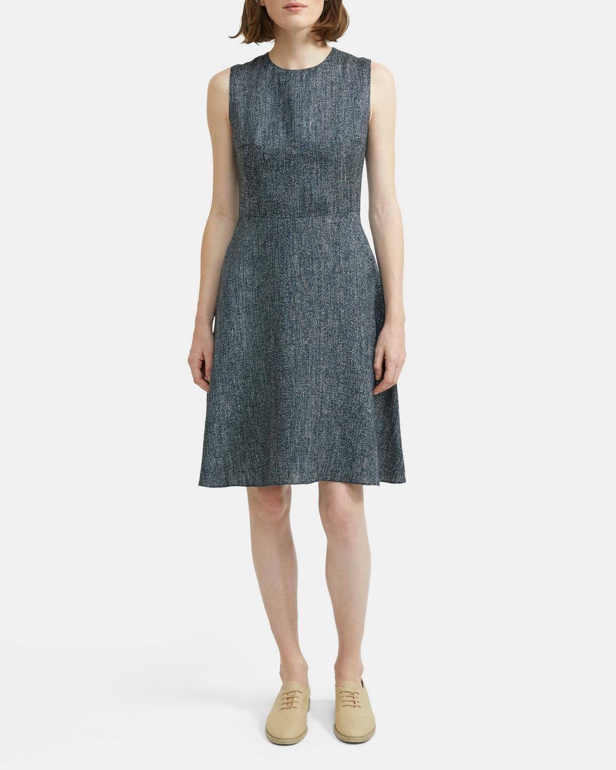 Dart Mini Dress in Herringbone Linen Blend