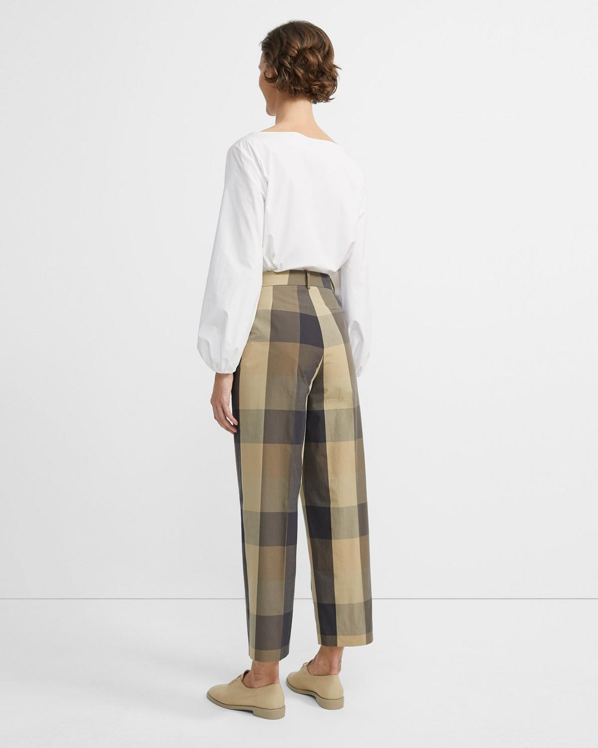 Silk-Cotton Check High-Waisted Straight Pant