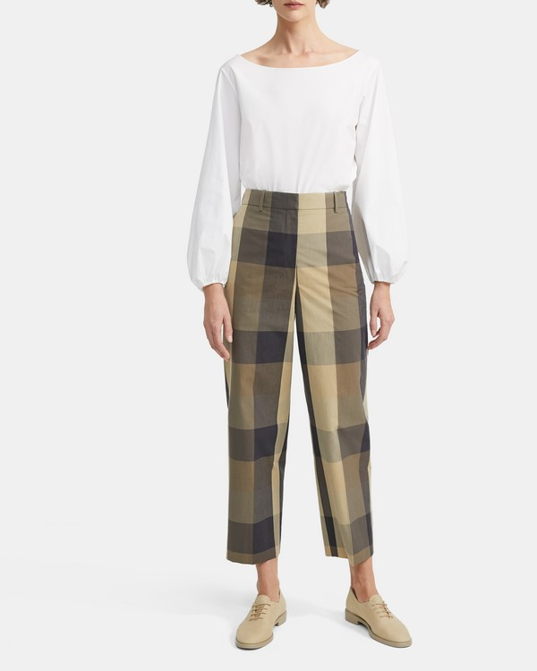8f60a4a2691f1 Silk-Cotton Check High-Waisted Straight Pant