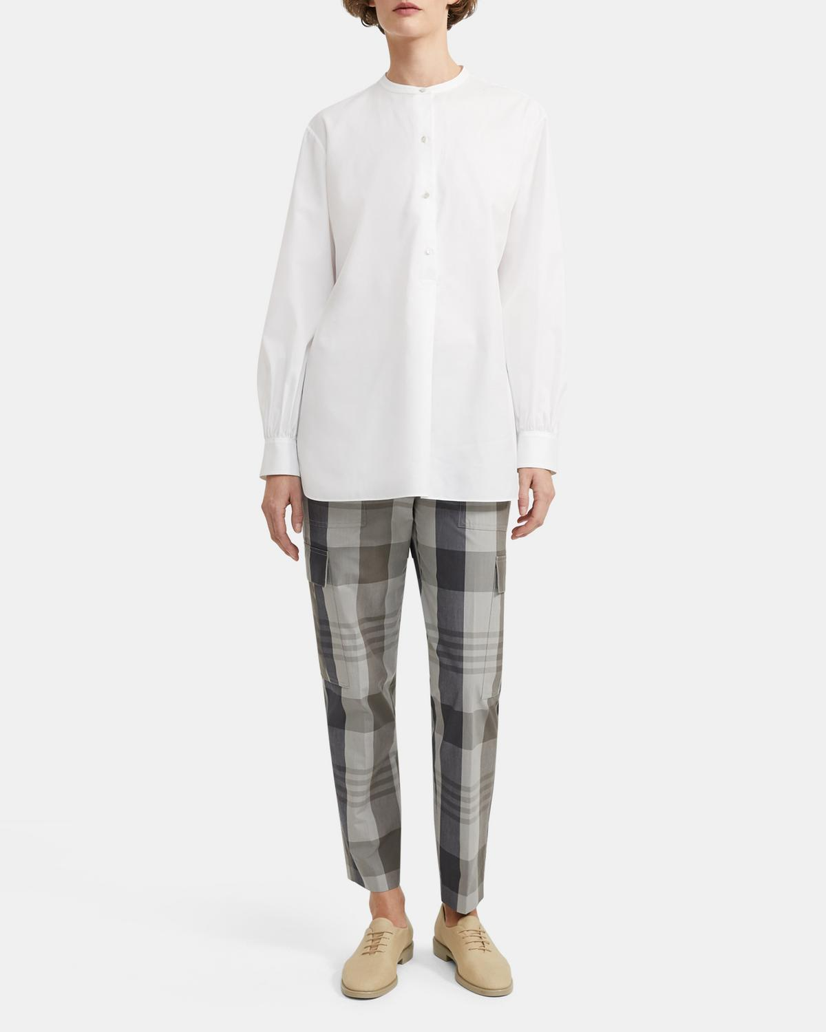 Easy Cargo Pant in Plaid Cotton-Silk