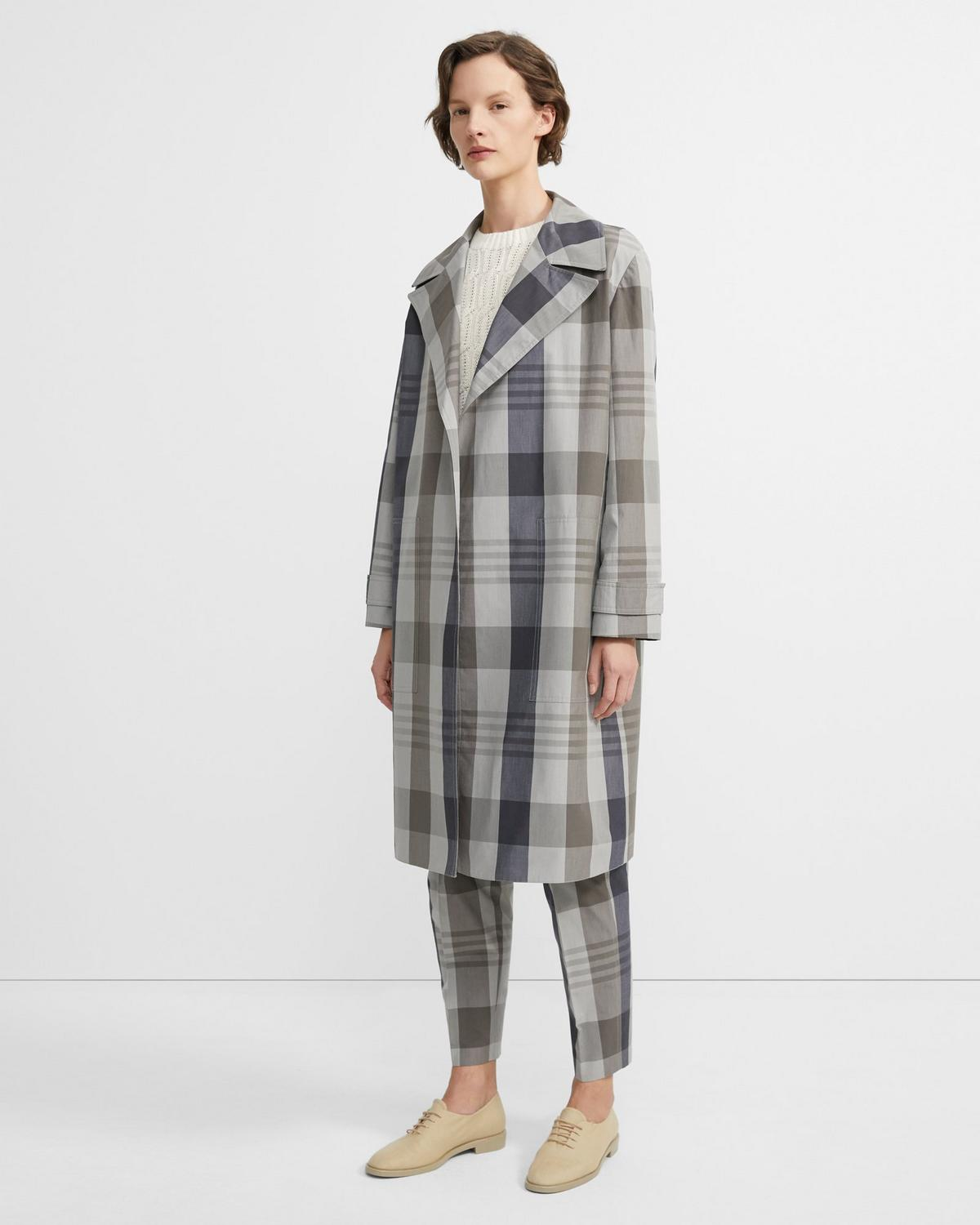 Silk-Cotton Check Military Trench