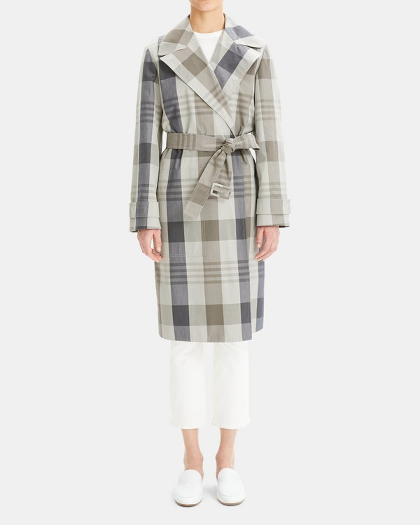 44972100c771 Silk-Cotton Check Military Trench