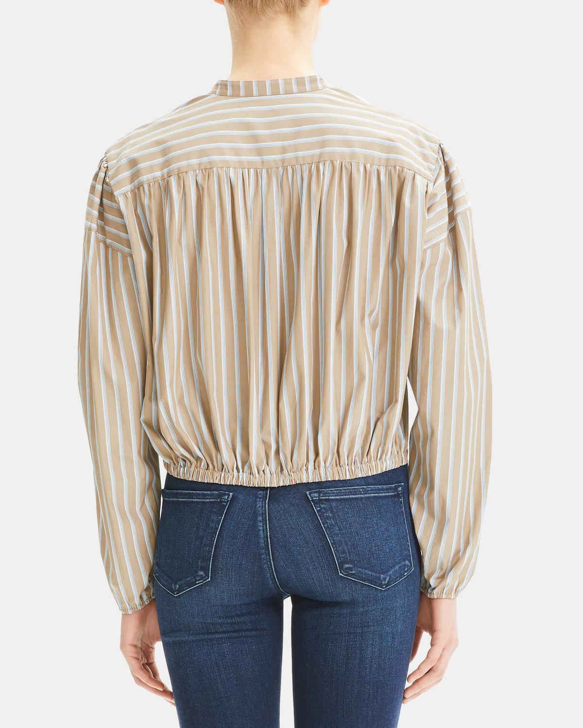 Ribbon Stripe Shirred Yoke Shirt