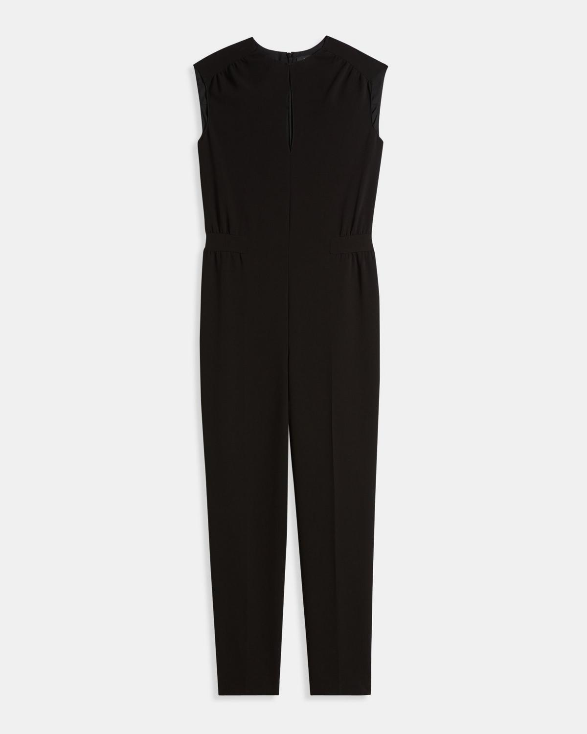 Crepe Shirred Jumpsuit