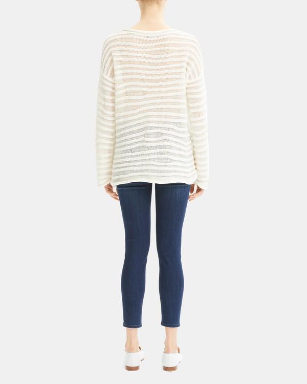 띠어리 스트라이프 풀오버 Theory Linked Stripe Pullover,WHITE