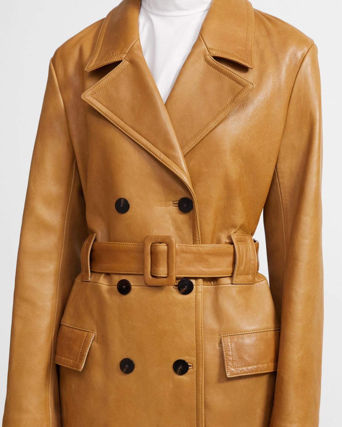 Soft Leather Peacoat