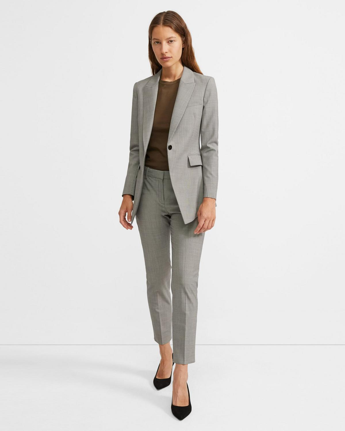 Good Wool Houndstooth Long Blazer