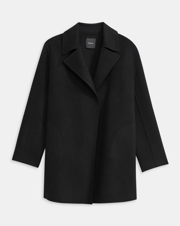 띠어리 오버레이 코트, 울 캐시미어 - 블랙 Theory Overlay Coat in Double-Face Wool-Cashmere,BLACK