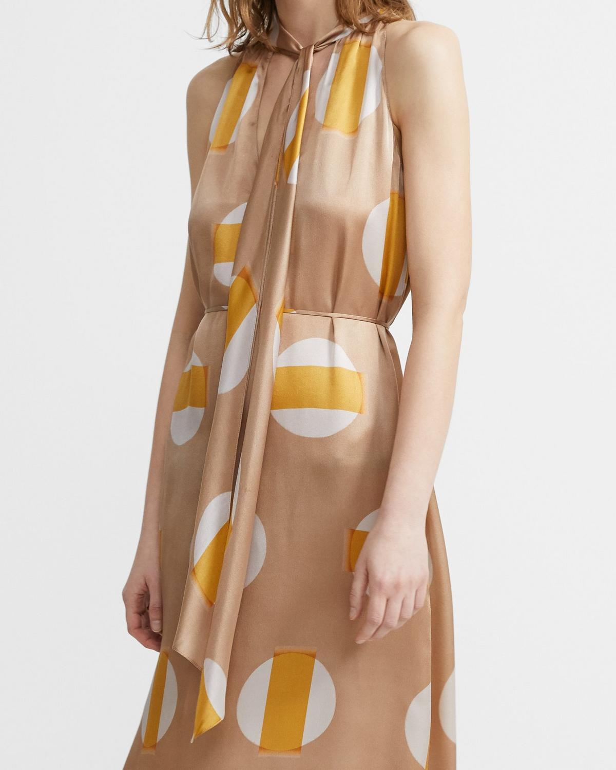 Glass Silk Halter Scarf Dress