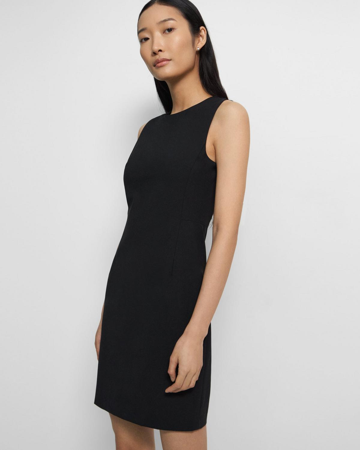 Sleeveless Fitted Dress in Good Wool