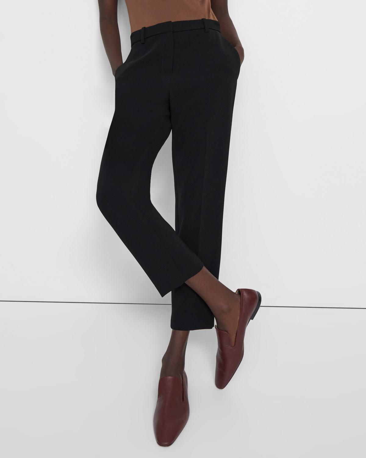 Slim Cropped Pant in Crepe