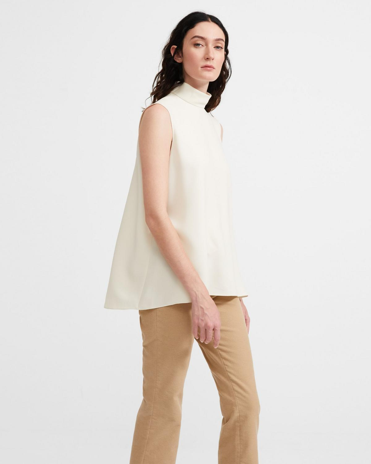 Crepe Sleeveless Cascade Top