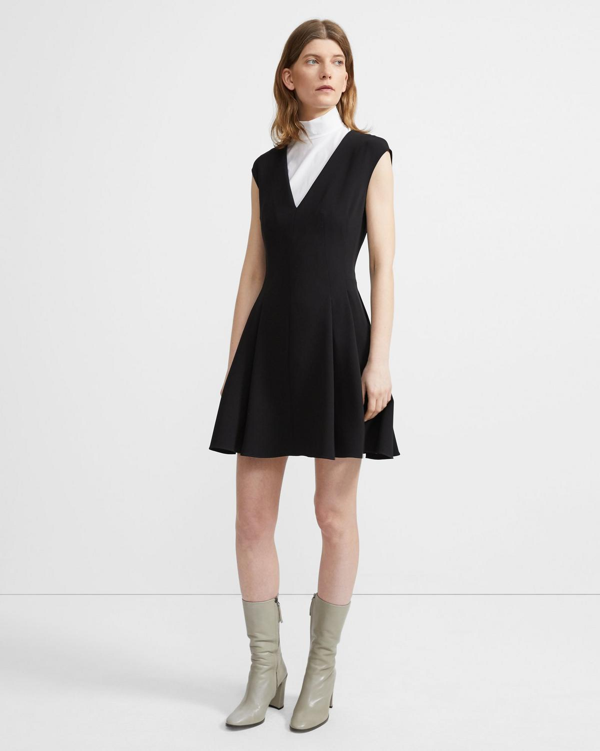 Crepe Pleated Cap-Sleeve Dress