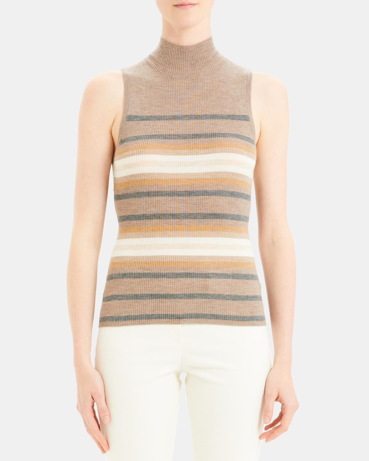 Striped Cashmere Shell Top