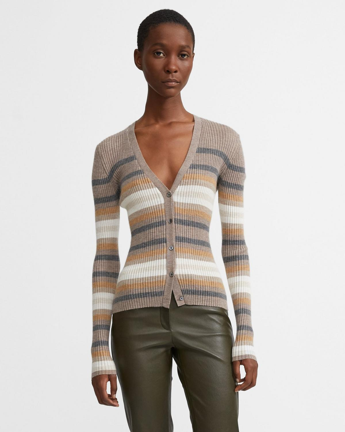 Striped Cashmere Cardigan