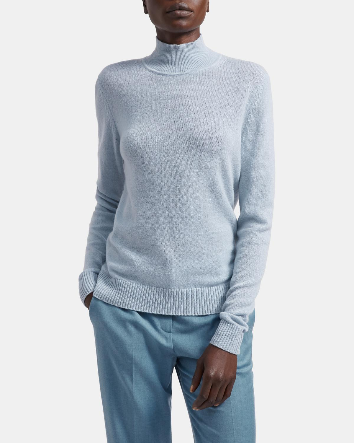 Basic Turtleneck Sweater in Feather Cashmere 0 - click to view larger image