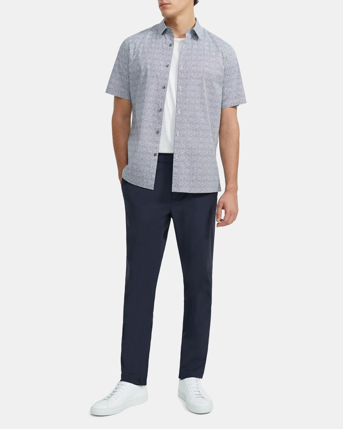 Irving Short-Sleeve Shirt in Tile Print Stretch Cotton