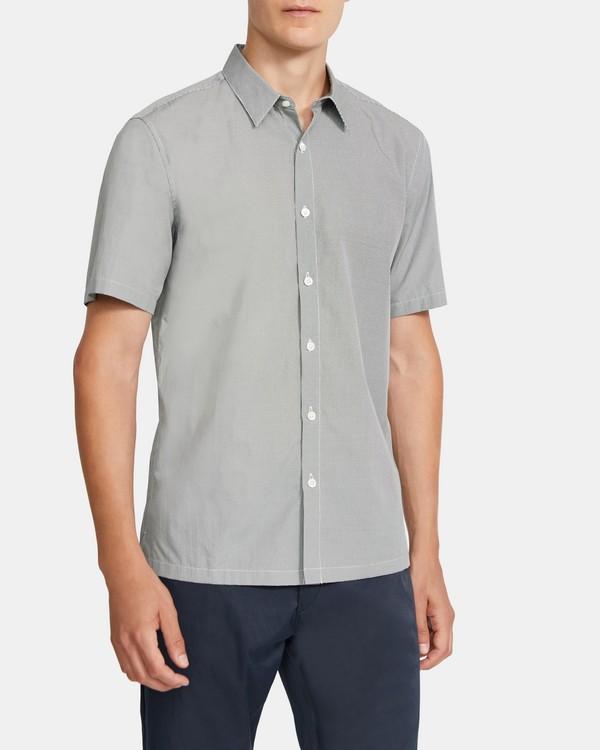 띠어리 맨 어빙 반팔 셔츠 Theory Irving Short-Sleeve Shirt in Printed Cotton,KOMBU GREEN
