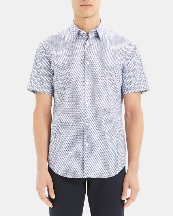 띠어리 맨 어빙 반팔 셔츠 Theory Irving Short-Sleeve Shirt in Printed Stretch Cotton,AIR FORCE MULTI