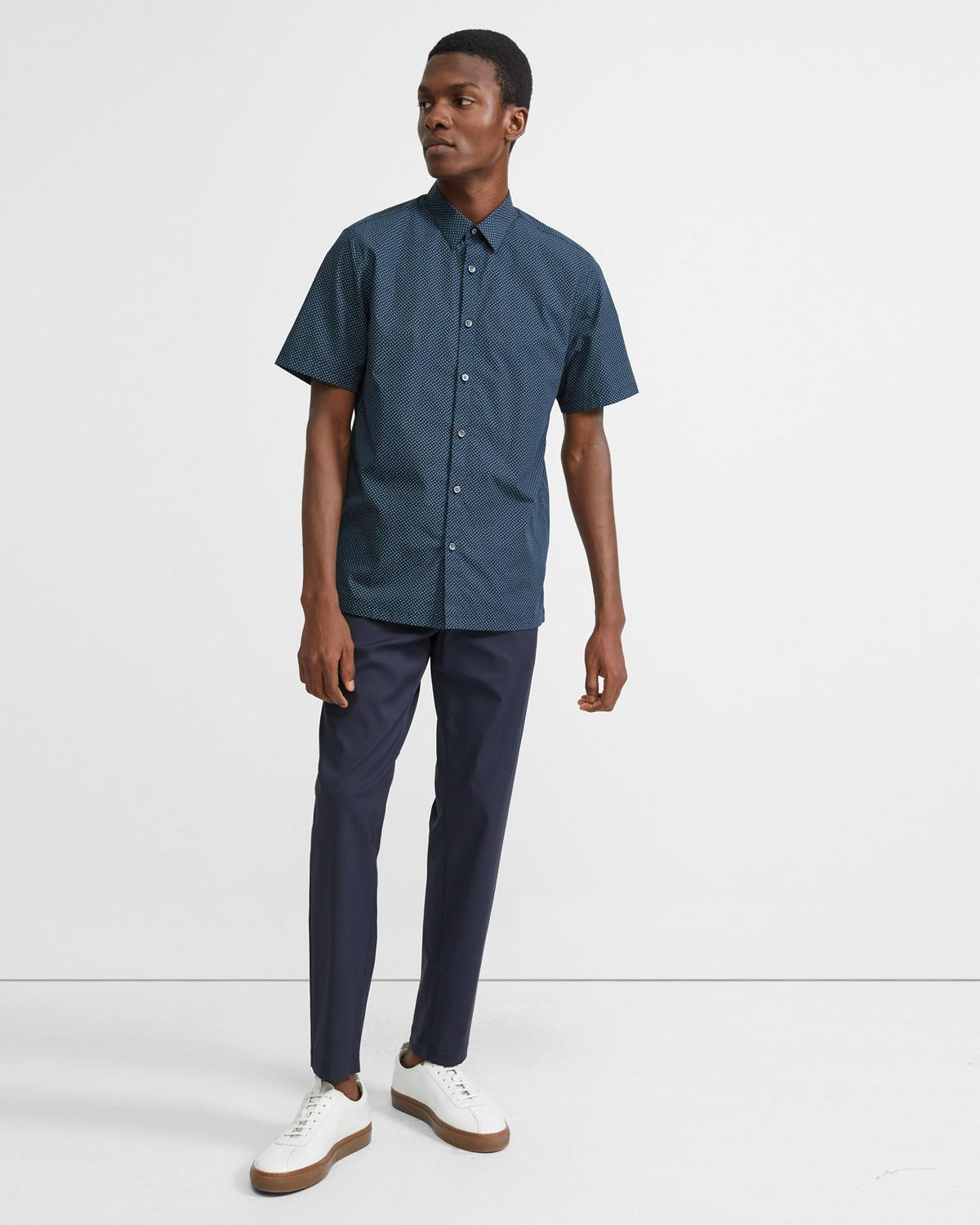 Cotton Square Print Short-Sleeve Irving Shirt