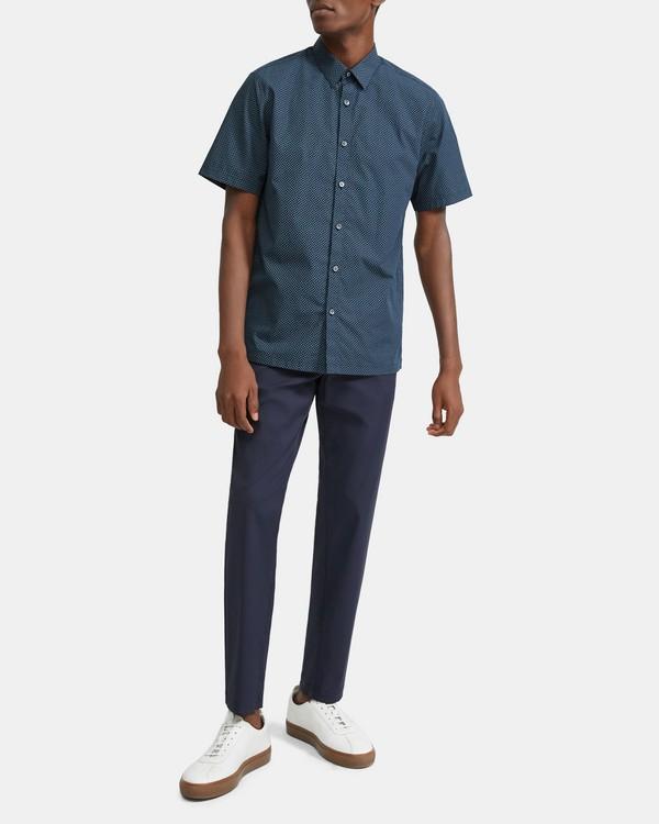 띠어리 맨 반팔 셔츠 Theory Cotton Square Print Short-Sleeve Irving Shirt,ECLIPSE MULTI
