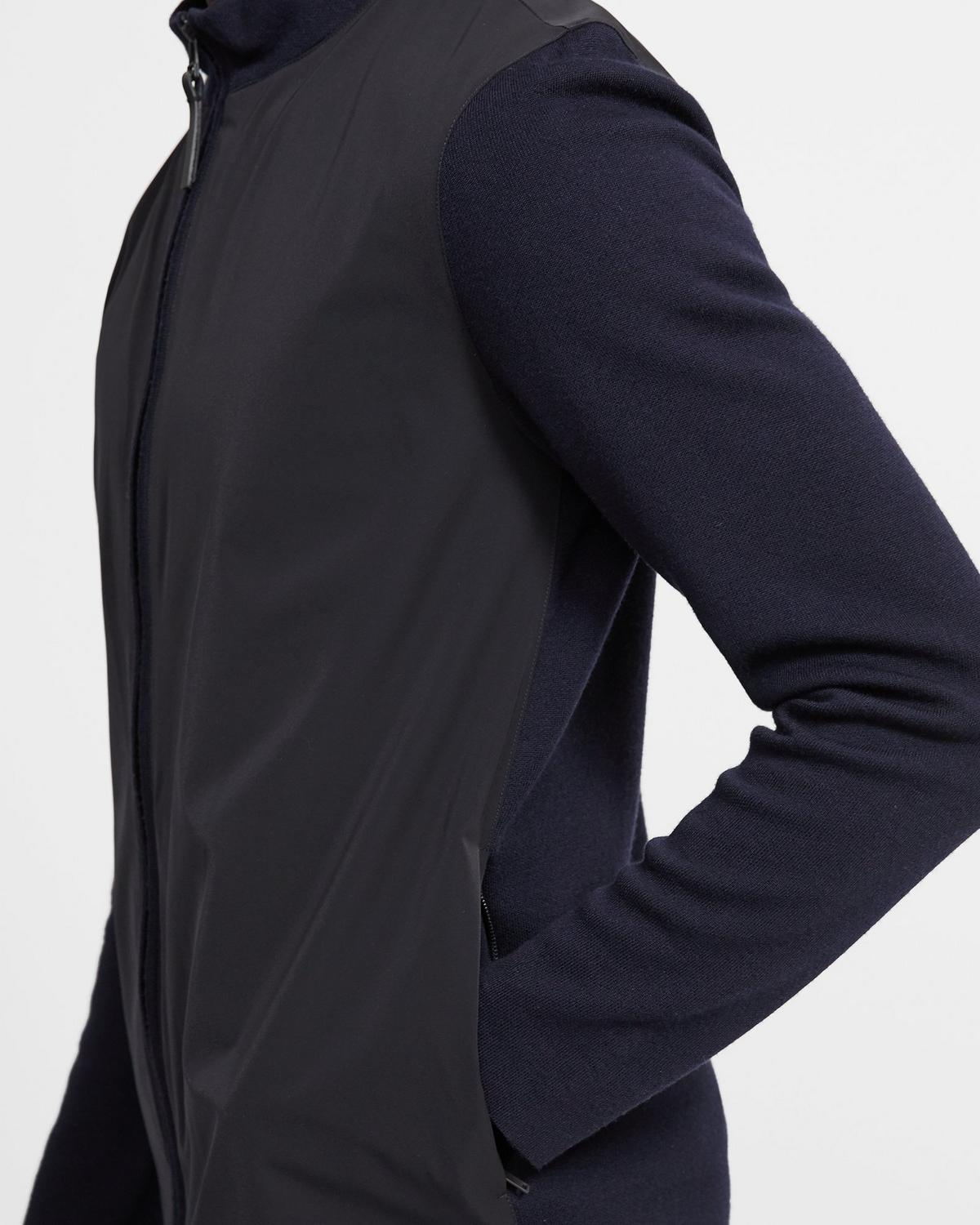 Merino Wool Combo Knit Zip-Up