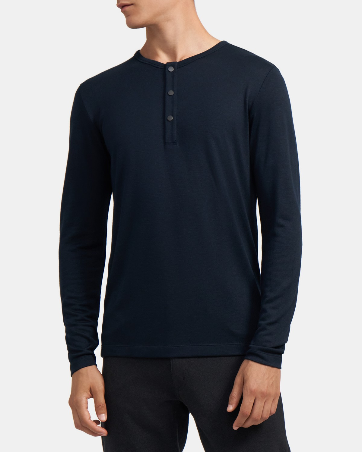Snap Henley Shirt in Modal Jersey