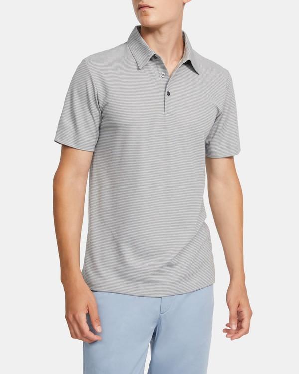 띠어리 맨 폴로 셔츠 Theory Polo Shirt in Striped Cotton Blend,LIGHT GREY