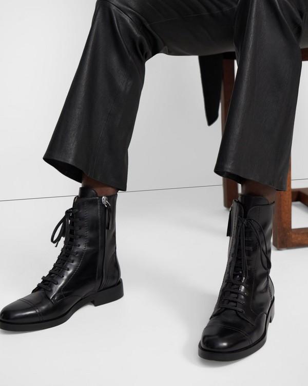 띠어리 Theory Laced Boot in Leather,BLACK