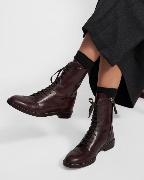 띠어리 Theory Laced Boot in Leather,DARK BROWN