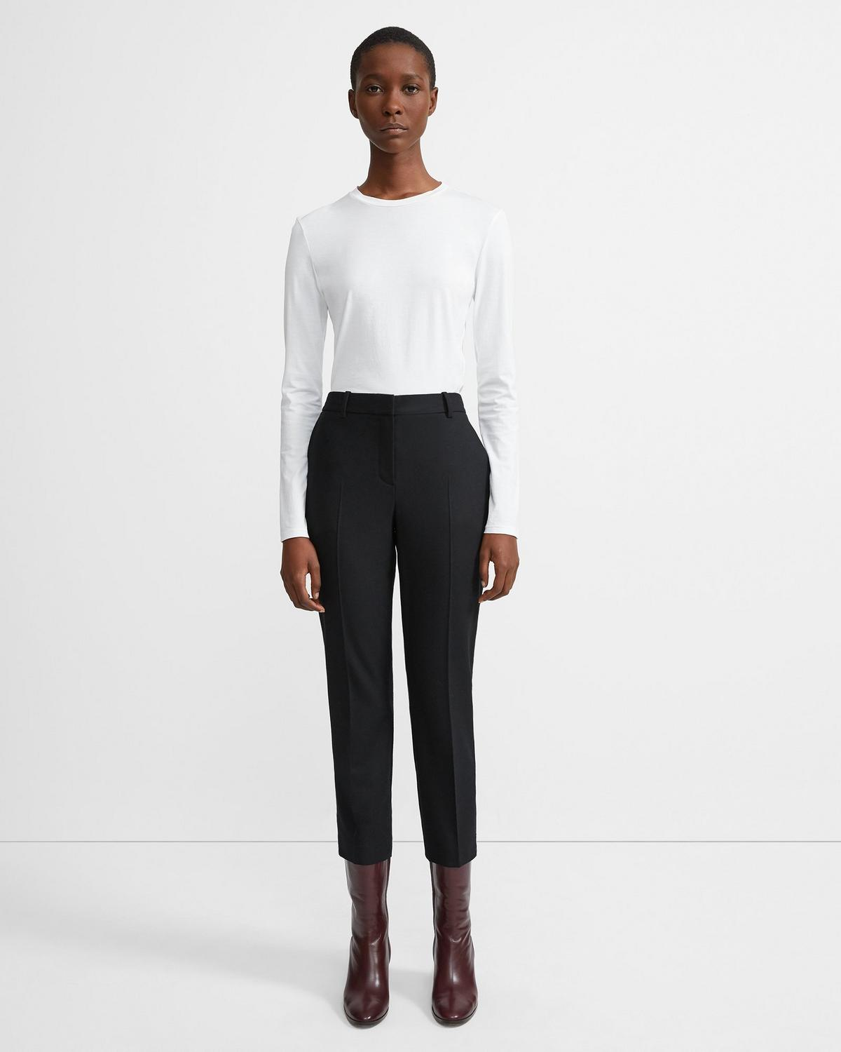 Sleek Flannel Cropped Tailored Trouser