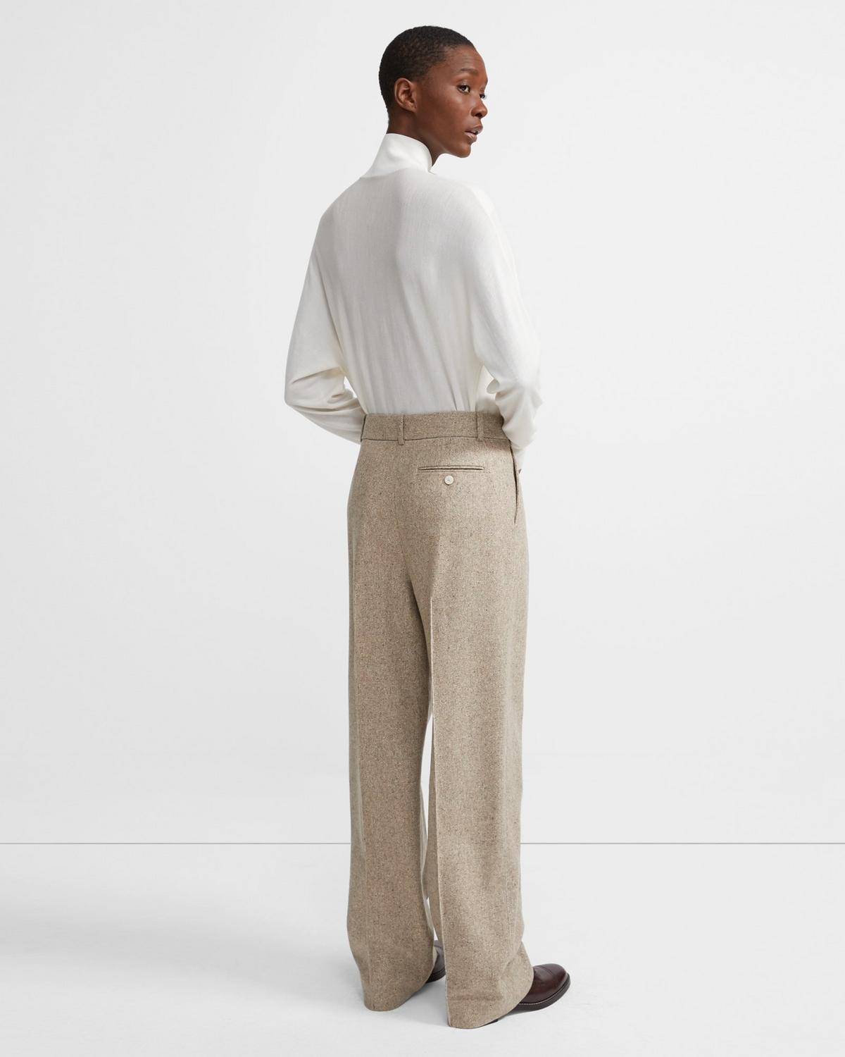 Speckled Wool Pleated Trouser