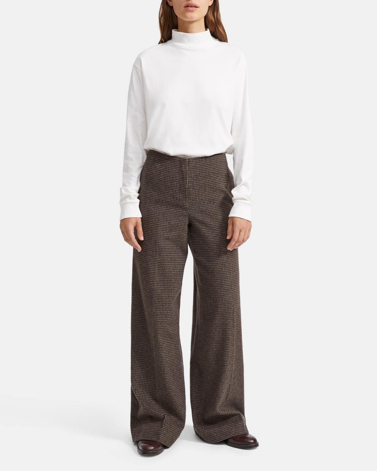 Wool Flannel Houndstooth Wide Pant